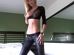 Blonde beauty strips out of leather pants and masturabtes paxcams.com