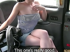 Kinky hot suntanned lady gets a sweet creampie as taxi payment