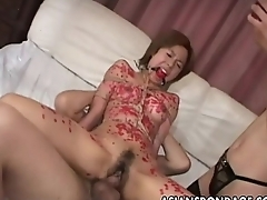 Asian slut waxed up tied up together with threesomed