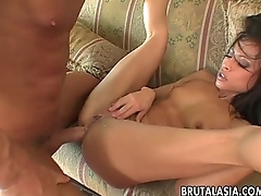 Stuffing her ass abysm and hard with a huge phallus