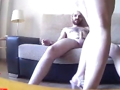 His sister fucks on the sofa in the dining room