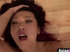 Sexy Asian girl start fucks on the stairs.