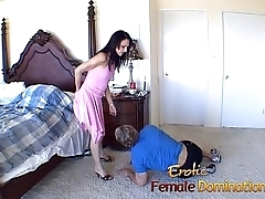 Skinny brunette shrew has her soaked pussy licked and drilled