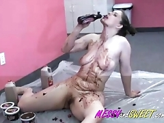 Candy Rubs Her Tits With Honey-like