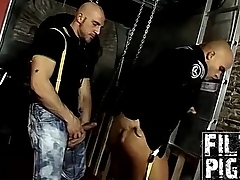 Horny Yenier and Nicos dote on anal fuck after pissing and bj