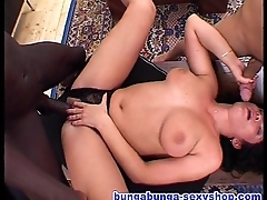 Three chubby cocks for one bitch: Tina Moore