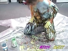 Blonde Drizzles Paint Naked Body
