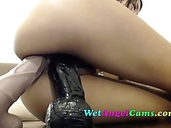 College Girl Fills her Ass with Giant Dildo and Double Penetrates