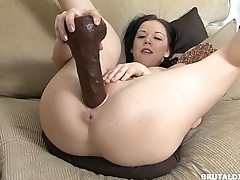 Babe with thick ass Riya rotating between derogatory dildos