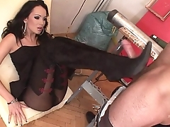 Feet job for a hot brunette with sexy black stockings