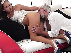 Latin Melody Petite crave for an elderly cock in mouth and pussy