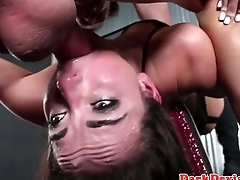 Restrained fem sexslave roughly throathed
