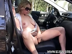 Flashing doll-sized panties with a dildo on a rest area
