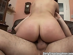 Chubby Teen Stepdaughter Doggystyle In The Couch