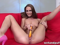 Hungry for cocks MILF impales long dildo earn cunt