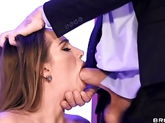 Hot wife anent leather boots blows hubby anent the office
