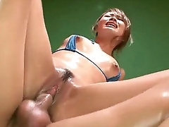 Luna enjoys two cock in the pussy and another in the ass