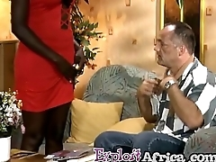 Fat ass African footjobs and rides a white horseshit