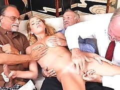 Blonde Teen Raylin Ann Taking On Three Old Men Sought after