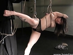 Devils asian suspension bondage and kinky fetish of pledged japanese beauty in s