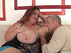 Fat and big boobed Kayla Mounds rides a hard cock