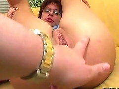 German mature gets dildoed and facialed after blowjob