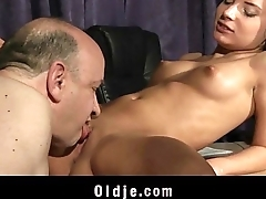 Tight Beautiful Teen Pussy Fucked By Broad in the beam Old Step-father