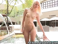 Teen Sierra blonde down a bear naked