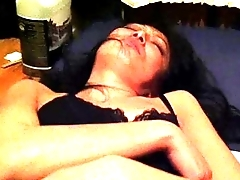 Japanese shaved slut wife showing pussy jibe a hard fucking