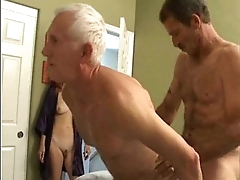 Grandpa'_s bisexual fun almost younger couple