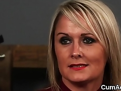 Spicy honey gets sperm load on her face gulping all the sperm